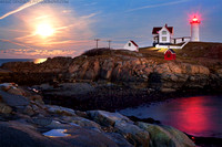 Full Moon Rise at Nubble Lighthouse
